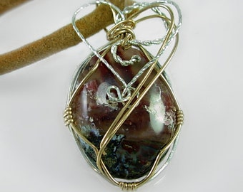 Gold Fill &  Sterling Silver  Wire Wrapped Pendant, Hand cut stone, Lapidary , hand forged, Shabby Chic