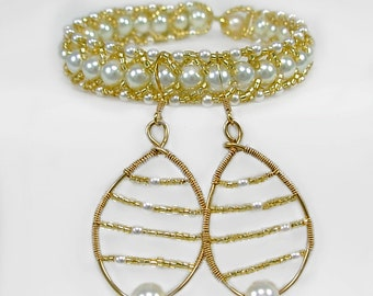 Bead woven Bracelet & Earring Set, White Pearl and Gold, Jewelry gift SET under 40. Bridal,Prom, Mom's Day
