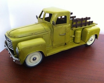 1950s Chevrolet Pickup Truck Tin Metal Car Toy Miniature - Works Vehicle Model 3100 in Green Room Decor