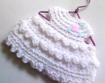 Crochet baby / doll / miniature dress pink flower ornament by Orchid's Orchard