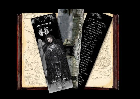 Digital Download Bookmark - Jon Snow - The Watcher on the Walls, Game of Thrones inspired