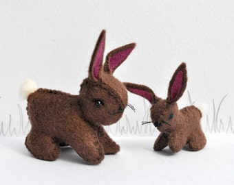 Chocolate Woolfelt Little Bunny and Mother