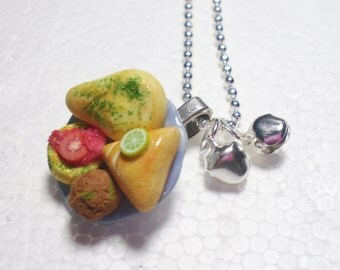 Indian Snacks Pendant. Polymer Clay.