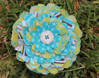 Fresh Fabric Flower Pin - Aqua and Green