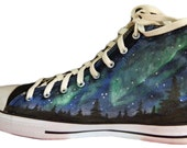 Aurora Northern Lights Hi Top Galaxy Painted Canvas Sneakers Shoes (Simple)