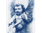 ACEO Angel Drummer Boy Miniature Cyanotype Photograph in Blue and White Original Art 2.5 x 3.5 inches