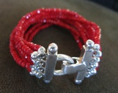 Red/Sterling  An Art Piece Bracelet / Cuff created by Lynn Parpard Of A Kind Art Piece