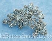 Rhinestone Brooch Component /Embellishment(6.8 x 4.8cm) BR-009 - 1 piece