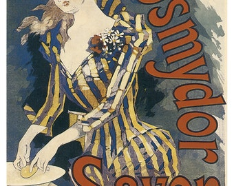 Vintage Savon-Parisian studio-1920-art Deco-ancient advertising-Lithograph Poster
