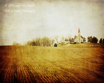 Little Church on the Prairie - 8x10 Fine Art Photography - Landscape Photography