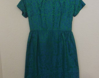 Blue Green brocade dress