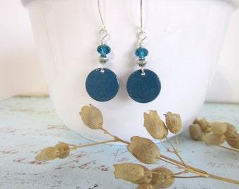 Enameled Disc Earrings - Teal Blue - Green