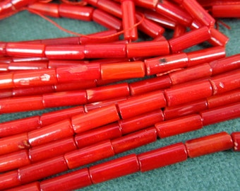 Bamboo Dyed Coral Color Beads-- Red Bamboo Coral Beads -- 1 STRAND (BB-98)