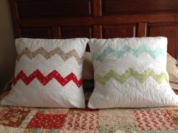 """Moda Ruby Chevron quilted pillow covers  20"""" X 20""""  set of 2"""