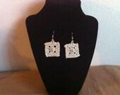 crochet earrings, bright silvery cream adorable earrings, earrings, women fashions, usa seller