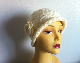 Cloche Women Hat With Flower In Off White, Crocheted Cloche Hat in Off White, USA Seller