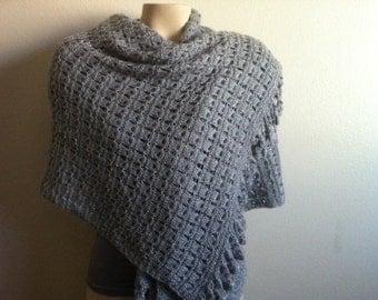 Knit Grey Shoulder Shawls, Shrug, Cape, Wrap in Grey, Womens SCarf Cape