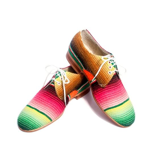 mexican blanket ( zarape ) oxford derby shoes - FREE WORLDWIDE SHIPPING
