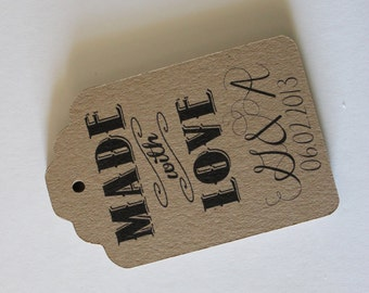 Tags Labels Customized with Your Logo Handmade Items - Set of 50 - Large Kraft Brown