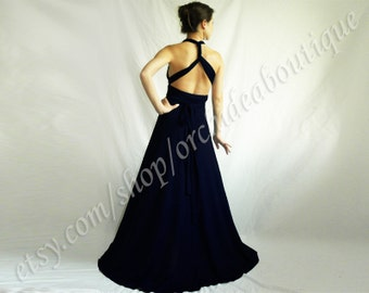 Backless bridal gown/ navy bridesmaid formal infinity bridesmaids dress Convertible Wrap Chameleon Maxi Dress Blue maternity plus size prom