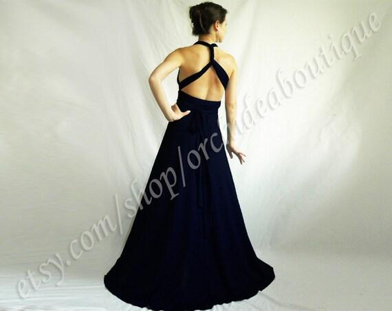 navy bridesmaid formal infinity bridesmaids dress Convertible Wrap Chameleon Maxi Dress Oxford Blue maternity plus size prom