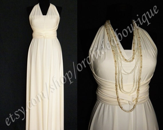 custom wedding dress Convertible Infinity Wrap Chameleon Maxi Dress Cream/Ivory and White - with a lining prom plus size maternity