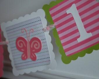 Butterfly Banner, I am 1 Banner, Highchair Banner, I am 1, Butterfly Birthday Banner,