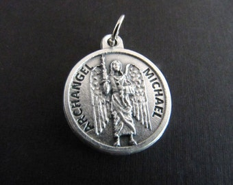 Italian Made Archangel Michael Catholic Charm with Prayer on Back