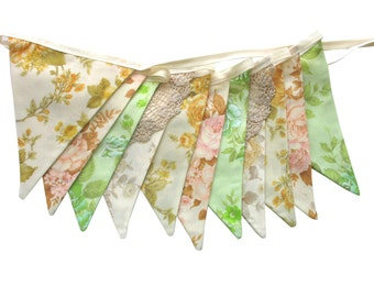 Vintage Bunting - Retro 'Pretty Ivory Floral' & Doily Lace Flags. HANDMADE . Party Decoration Banner, Market Stall, Pennant. Upcycled fabric