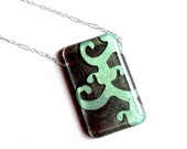 SALE Sterling Silver Resin Necklace Turquoise Flourish and Chocolate Brown Opalescent Rectangle CLEARANCE