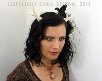 Antler costume headband White realistic tribal style deer antlers
