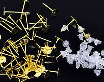 50, 4 mm Gold Color Surgical Steel Earring Posts with Silicon Backs in Silver or Gold Color