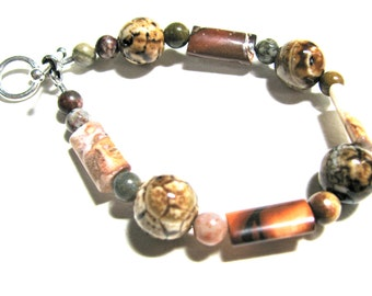Earthy bracelet, Ice Flower Agate with Brecciated Jasper and Ocean Jasper, beaded bracelet, gemstones 422