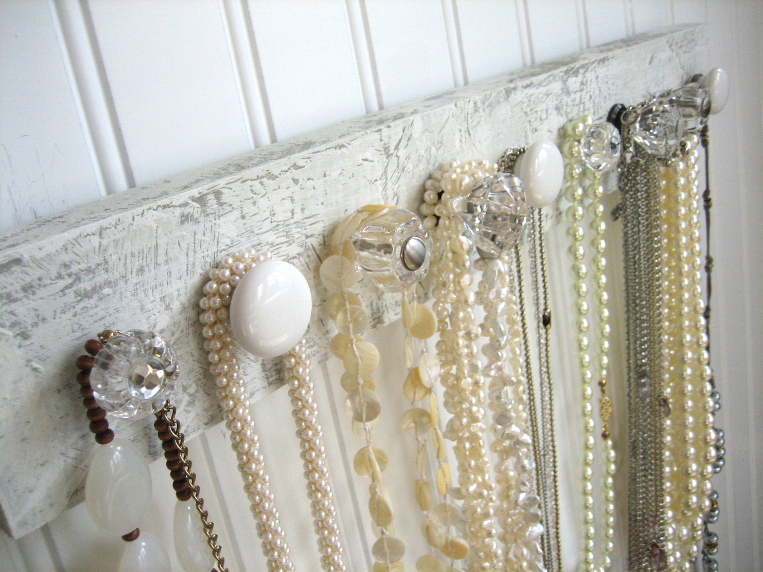 White And Clear Wall Mounted Jewelry By Auntdedesbasement