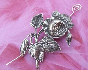Rose Shawl Pin, Flower Scarf Pin, silver shawl pin, oxidized, victorian, silver filled, spring fashion, leaf, floral