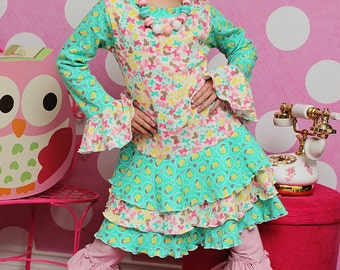 Tessa's knit T-shirt dress and top PDF Pattern sizes 2T to 8 girls