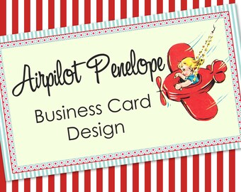 "Vintage Airplane  Business Card Design - Cute Vintage Design ""Airpilot Penelope"""