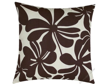 Chocolate Brown / Ivory Twist Indoor / Outdoor Decorative Throw Pillow Cover / Cushion Cover / 18x18""