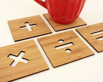 Basic Math Signs Coasters, Set of 5 in Amber Bamboo Wood