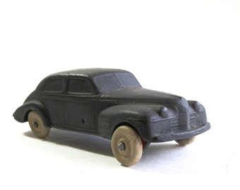 Vintage Auburn Toy Car - Oldsmobile Sedan - Auburn Rubber - Art Deco - Original Paint Tires - Collectible - Home Decor
