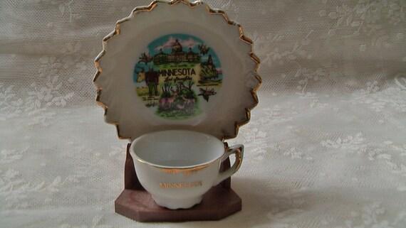 Vintage Minnesota State Souvenir Miniature Tea Cup And Saucer
