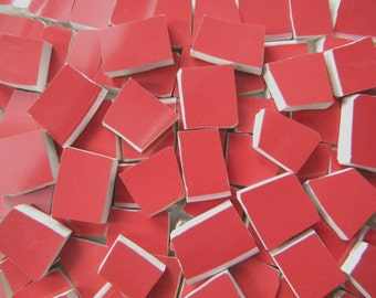 Dark TUSCAN RED - Solid Color Mosaic Tiles - Recycled Plates - 100 Tiles