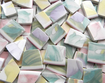 Mosaic Tiles - PASTEL FLORALS - Broken China - Recycled Plates