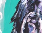 "Tibetan Terrier portrait giclee print of pop art dog painting bright colors 8.5x11"""