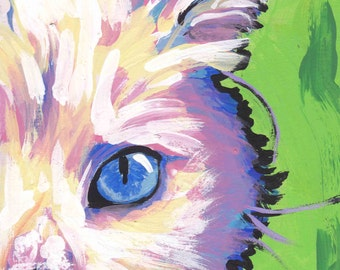 white Cat kitten art print pop art bright colorful cat portrait art 8.5x11 by LEA