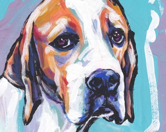 English Pointer portrait of colorful print modern pop dog art painting 8x8