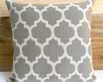 Taupe and tan moroccan quatrefoil decorative throw pillow cover