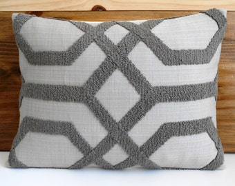 Gray embroidered trellis decorative lumbar pillow cover