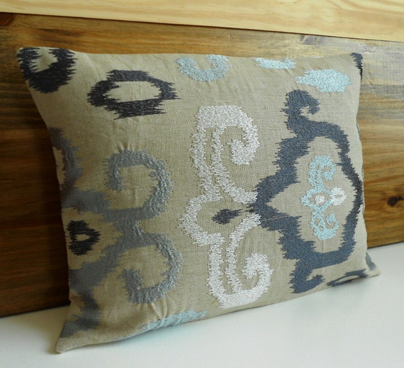 Ikat decorative pillow cover gray silver blue pillow
