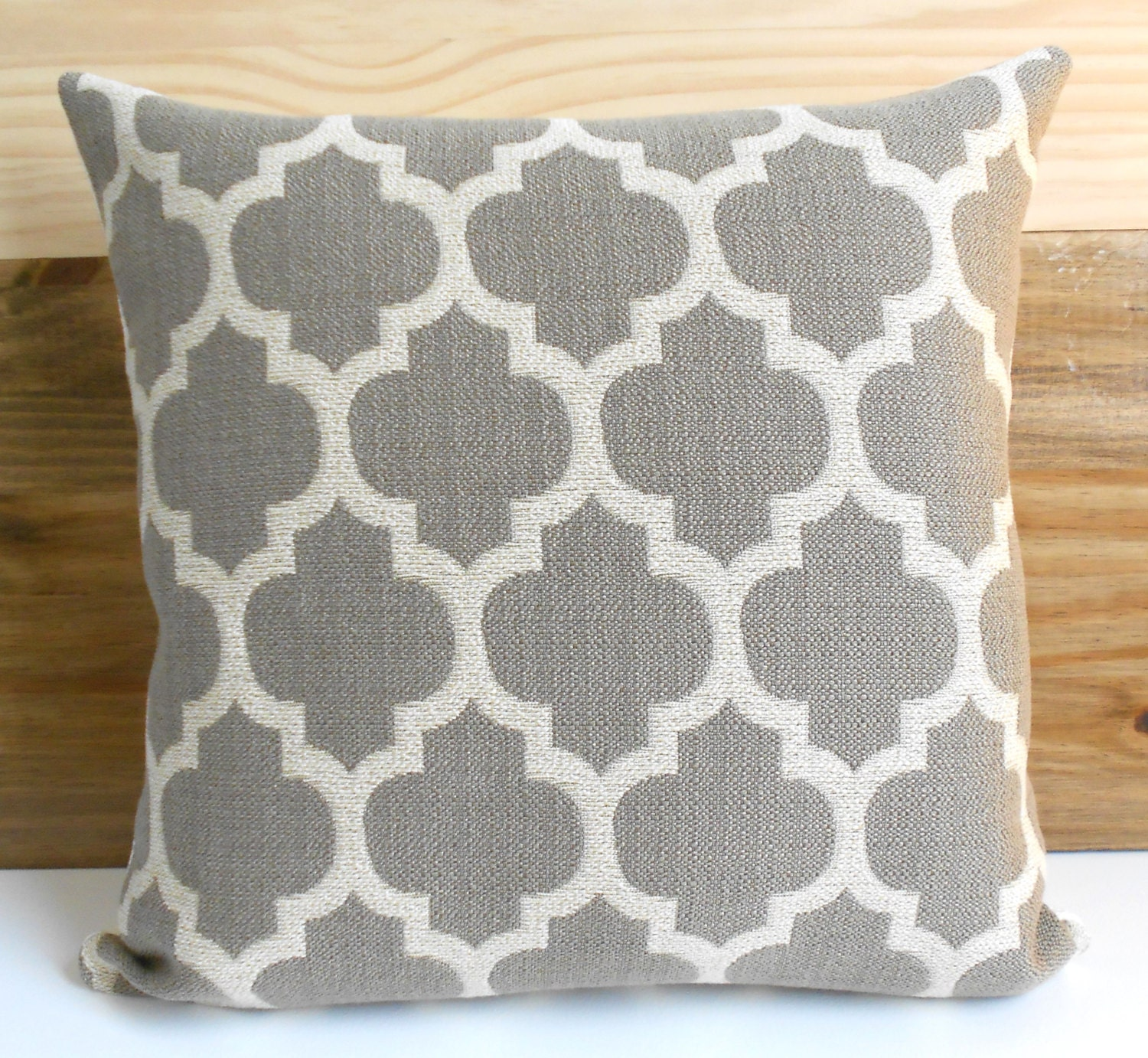 Throw Pillows Malum : Taupe and tan moroccan quatrefoil decorative throw pillow